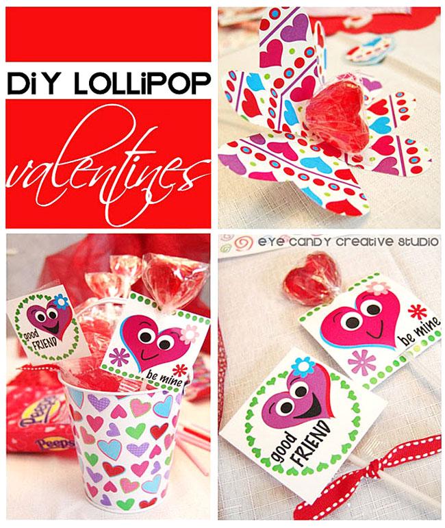 DIY lollipop valentines, kids valentines, classroom valentines, silly hearts