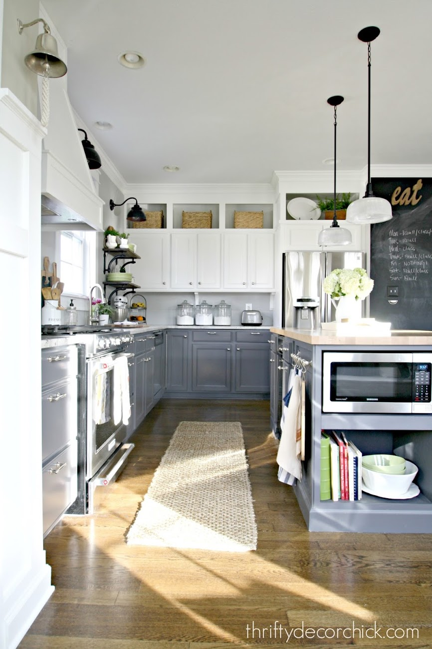 dark gray lowers white uppers kitchen