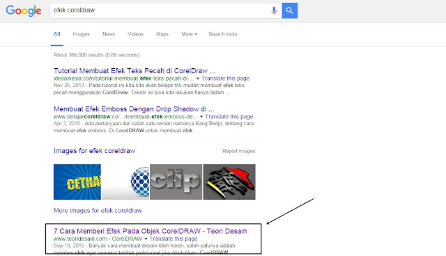 Contoh artikel teoridesain.com yang berada di halaman pertama Google2