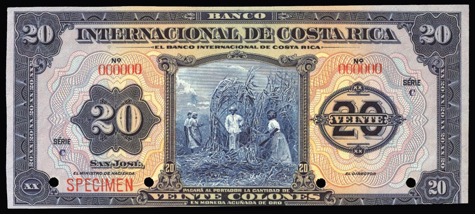 Costa Rica banknotes 20 Colones bank note 1936 Banco Internacional de Costa Rica