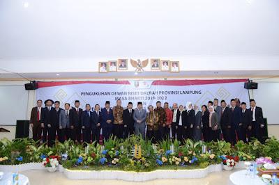 Gubernur M.Ridho Ficardo Kukuhkan Dewan Riset Daerah Provinsi Lampung Masa Bakti 2019-2022