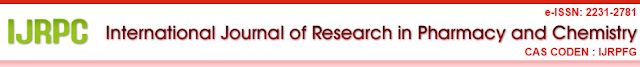 International Journal of Research in Pharmacy and Chemistry (IJRPC)