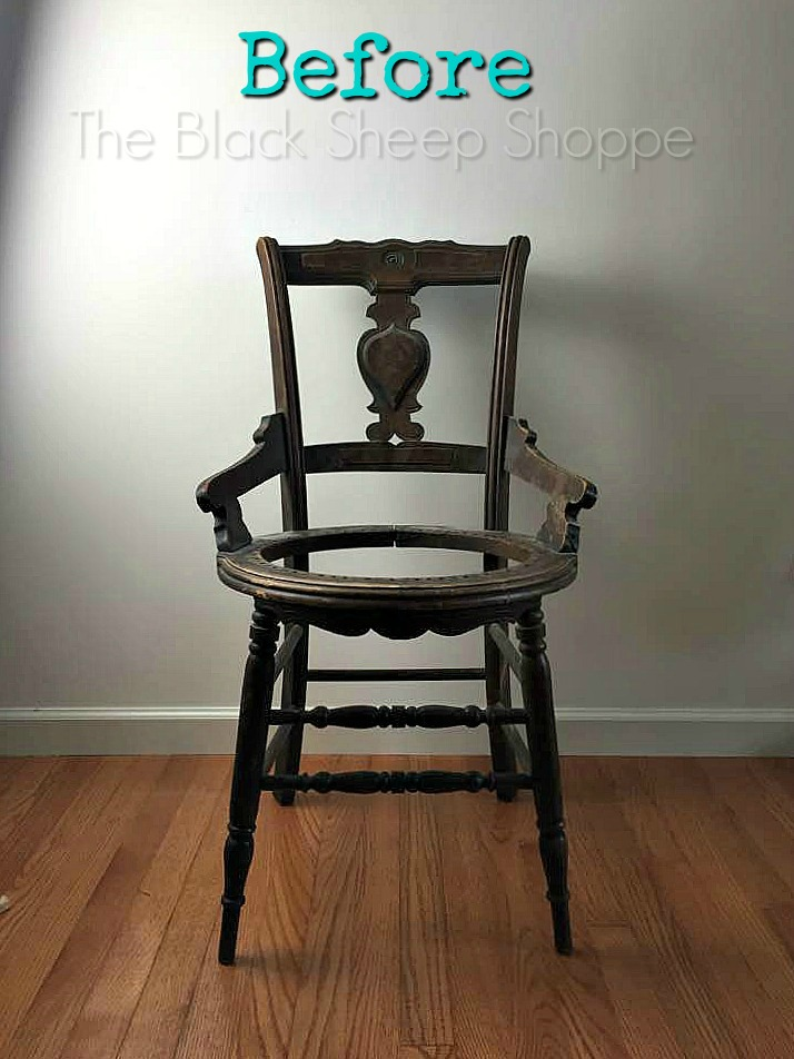 Before photo of antique chair
