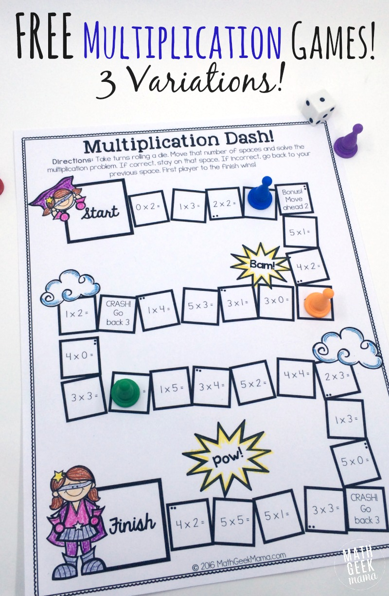 Zany image within printable multiplication game