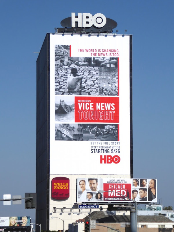 Giant Vice News Tonight series premiere billboard