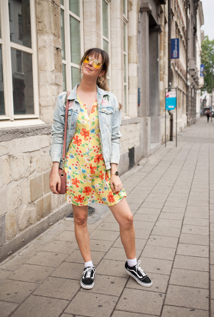 Outfit: yellow pilot glasses, flower embroidered denim, vintage floral dress