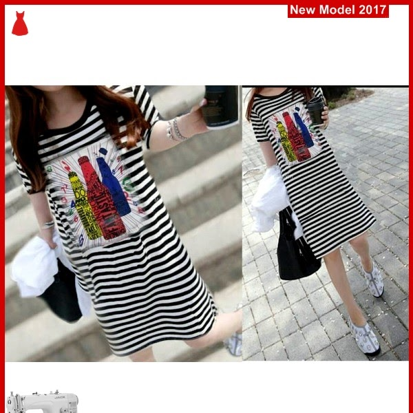 MSF0200 Model Dress Botol Murah Salur Modis BMG