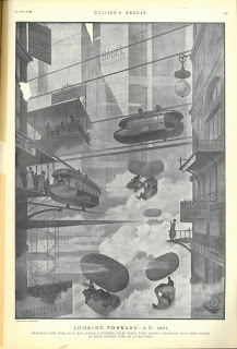 "Page 29 of volume 26 of Collier's Weekly. It's a black and white entire-page illustration. In the background of the illustration loom tall, grey sky scrapers which completely covered the sky. The two buildings in the front of the illustration are connected with wires which holds floating capsule-looking trams. Some people are mail materials are floating in the bottom and middle of the illustration on hot air balloons. Large crowds are waiting for the floating capsule train on platforms protruding from the building on the left side of the illustration. The lower platform sign reads ""Wall St"" and the higher platform sign reads ""Manhattan Air Lines."" Different signs hung on the side of the buildings. On the very top left corner of the illustration, the sign reads ""Youth Restored by Electricity While You Wait. 199th Floor."" On the very left bottom corner the sign reads ""To Europe, 6 Hours by Submarine Line."" On the right bottom side of the illustration are two signs. One of them reads ""Wireless telephone, local and Europe,"" and the other one in the bottom reads ""Quick Lunch: Compressable Food Tablet."""