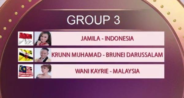 urutan tampil grup 3 top 15 da asia 1
