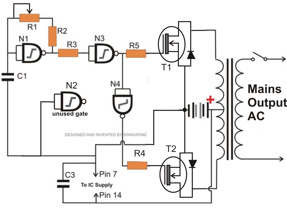 Simple Inverter Circuit Using Mosfets