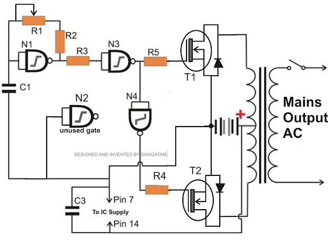 only wiring and diagram  how to make a simplest 150 watt mosfet inverter circuit