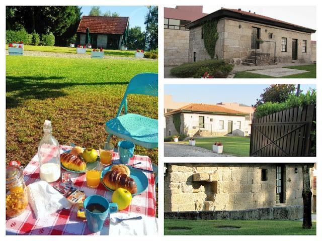 tipos de casas de alojamento na Aldeia do Tâmega e mesa do pequeno almoço no jardim