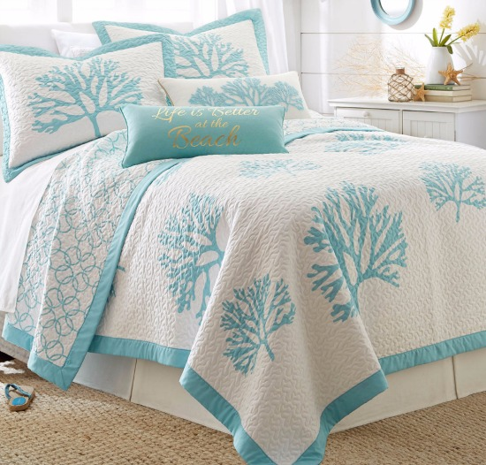 Aqua Coral Quilt Set with Shams