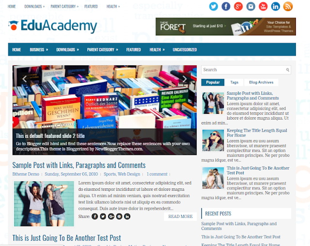 gratis blogger topic for those who are looking for an exciting novel Education website for bl Free Download EduAcademy Blogger Template