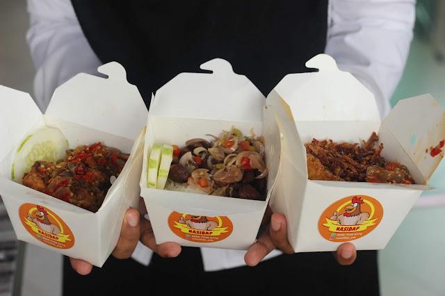 nasi dap sambal teri, nasi dap bakso sambal matah dan nasi dap ayam goreng sambal bawang