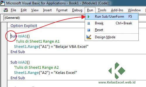 Menjalankan sub procedure dari Visual Basic Editor Excel