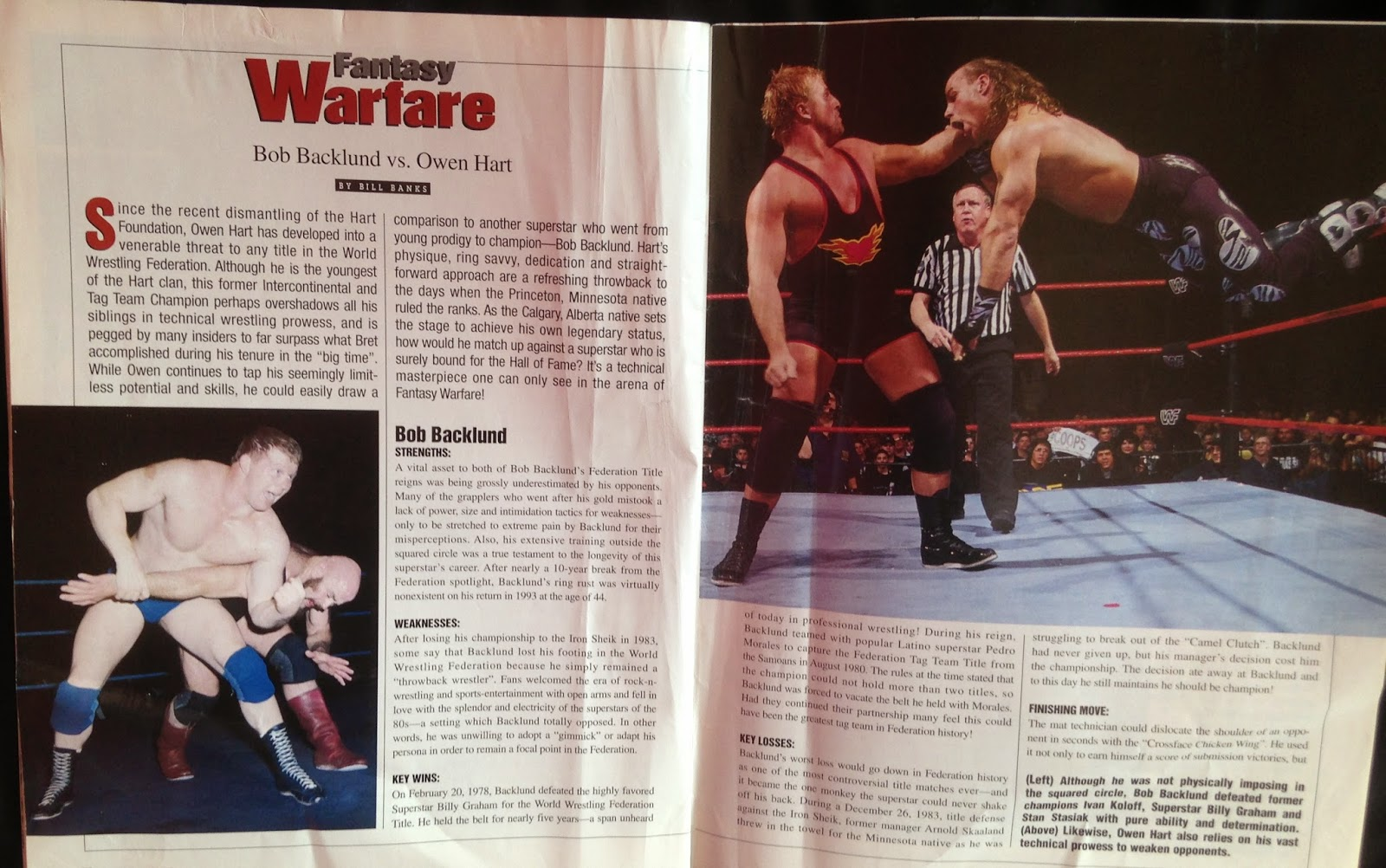 WWE - WWF Raw Magazine - April 1998 - Owen Hart vs. Bob Backlund fantasy warfare
