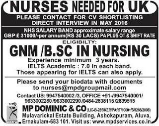 Job vacancies for nurses in UK
