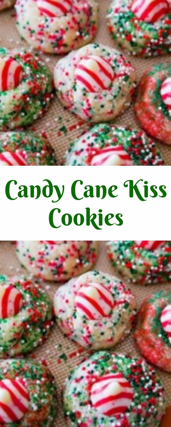 Candy Cane Kiss Cookies #christmas #cookies