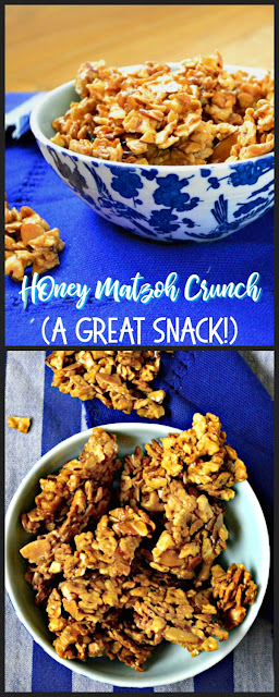 Honey Matzoh Crunch is a great snack made in the microwave. Made with matzoh, nuts and honey...you and your kids will love this! #matzoh #Passover #snacks www.thisishowicook.com