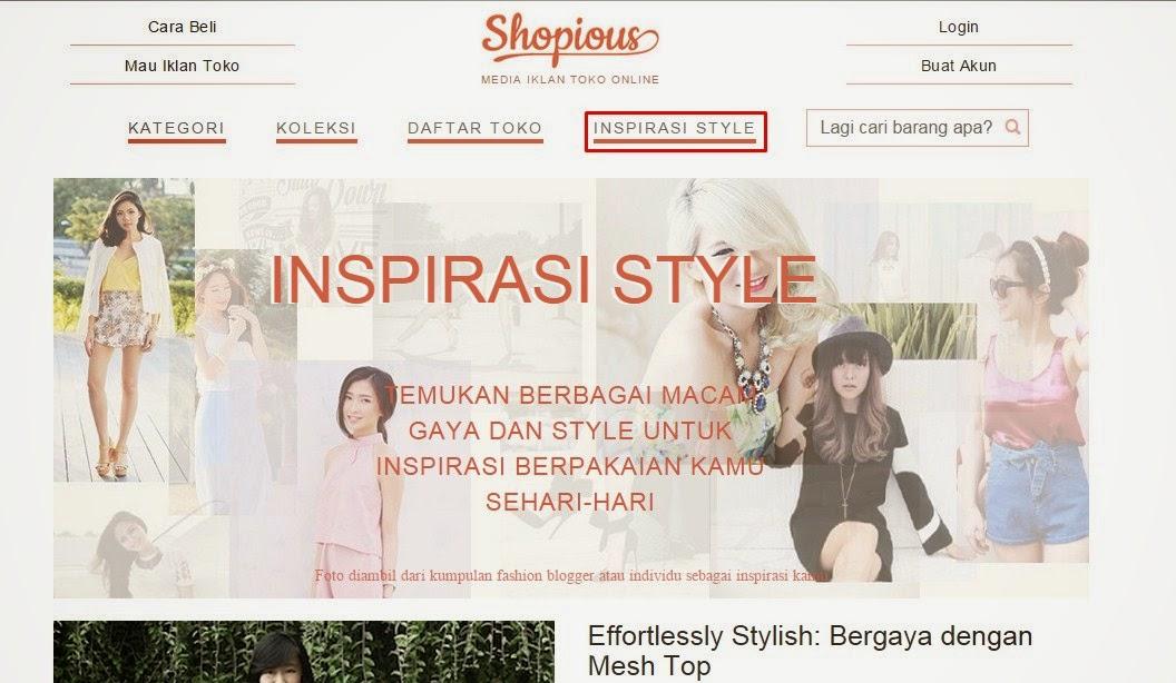 "Tab Menu ""Inspirasi Style"" di Shopious.com"