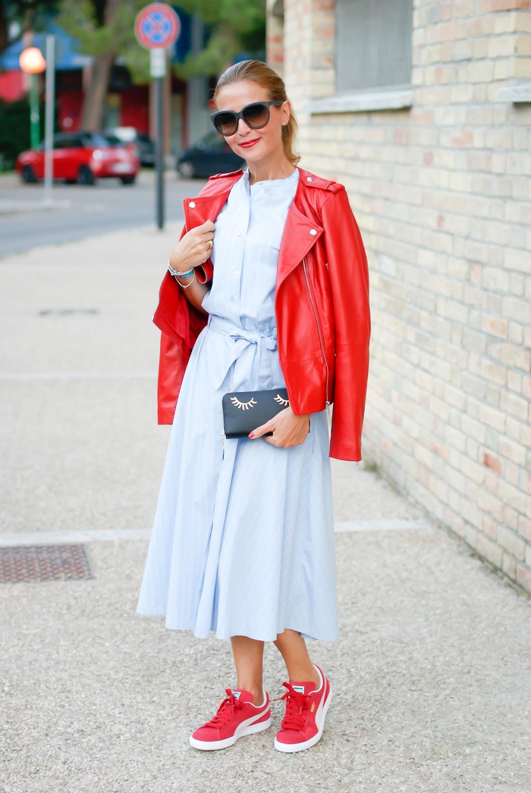 Biker jacket and dress on Fashion and Cookies fashion blog, fashion blogger style