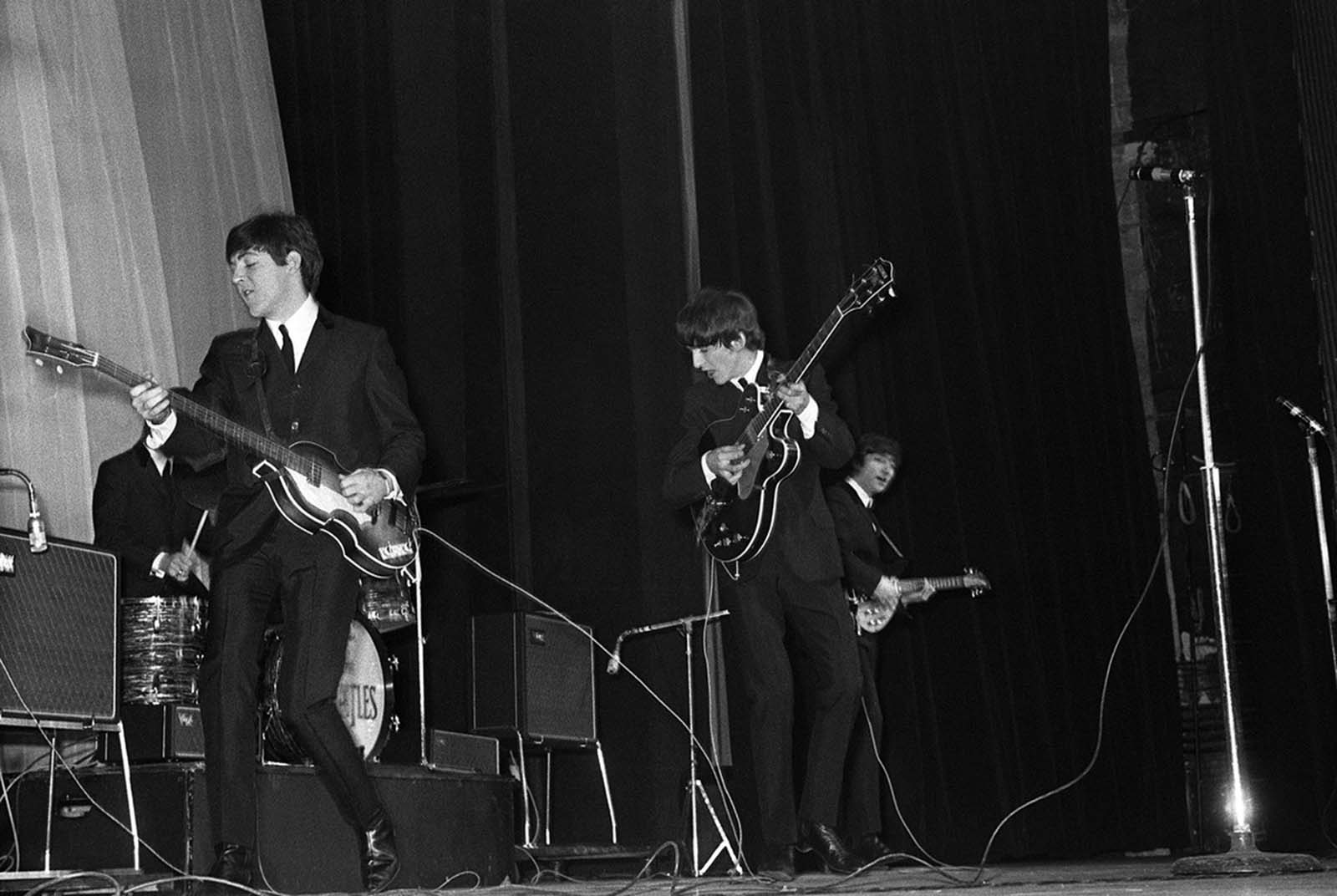 The Beatles perform their first concert outside of Britain, at the Olympia in Paris, on January 17, 1964.