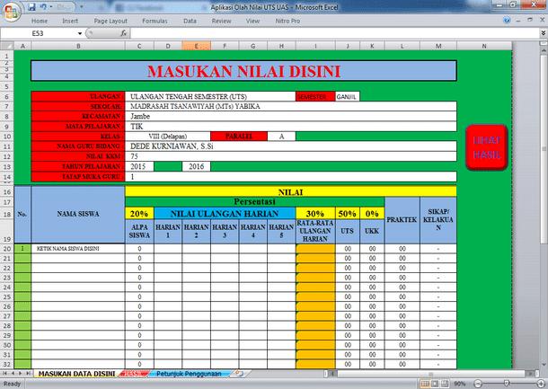 Aplikasi Olah Nilai UTS UAS Format Microsoft Excel