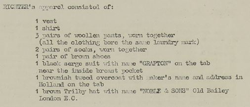 List of clothing articles found on Karel Richter (National Archives - KV 2/31 - 77a)