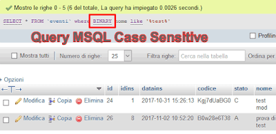 mysql query case sensitive