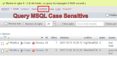 mysql query case sensitive