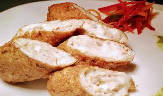 Serving cheese stuffed minced chicken kebab recipe
