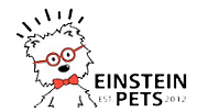 7 varieties of Einstein Pets dog treats with a blue plate full of the biscuits