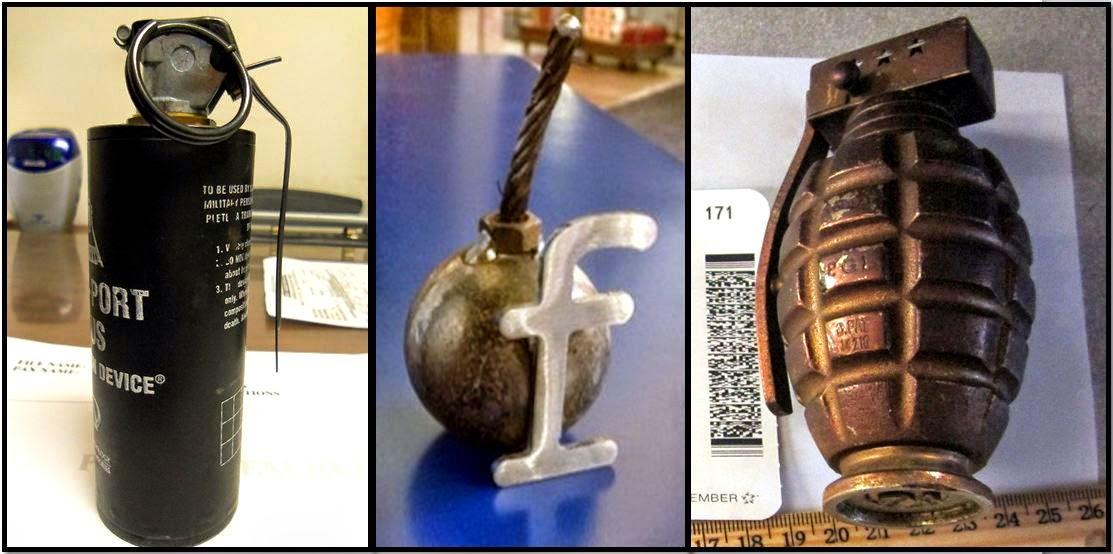 discovered stun grenade and replica grenade
