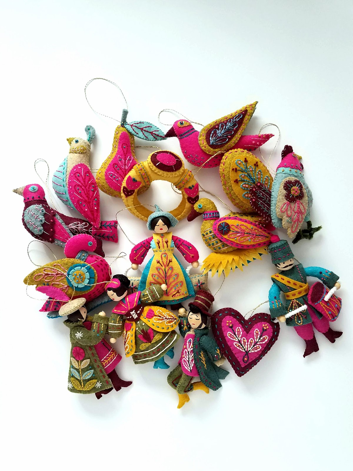 Finished 12 Days of Christmas ornaments - pattern by Mmmcrafts, as stitched by floresita and shared on Feeling Stitchy