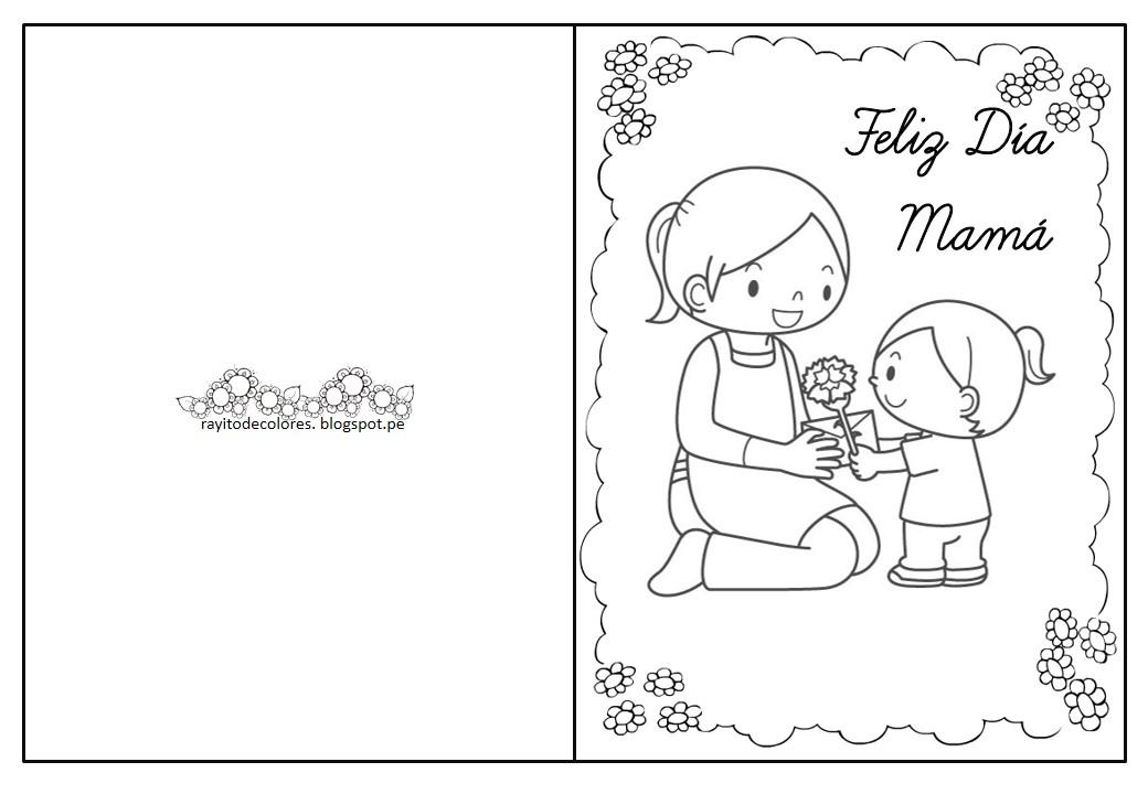 Rayito de Colores: Tarjetas día de la madre para colorear