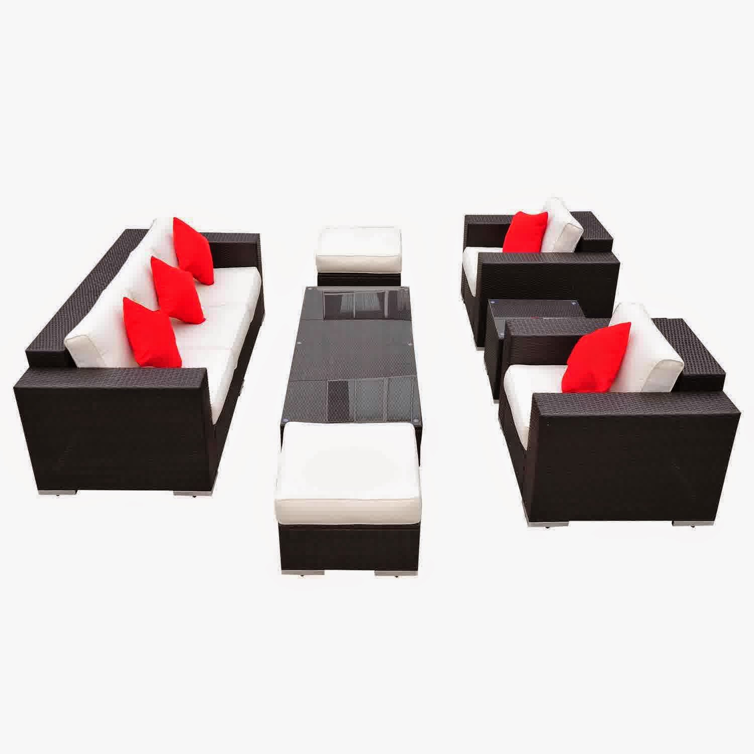 Outsunny 7pc PE Rattan Wicker Sectional Patio Sofa Furniture Set