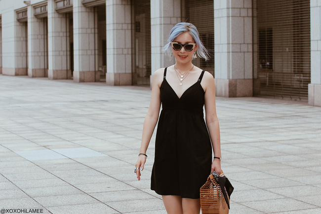 Japanese Fashion Blogger,MizuhoK,20180811OOTD,H&M= black mini dress, Rakuten=half moon bamboo bag, / zeroUV=cat eyes sunglasses / vonBraun=studes flad shoes / Bershka=medaled pendant / Newchic=Bandanna street style