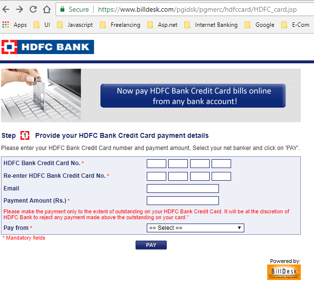 Tech Rajput How To Pay The Hdfc Credit Card Bill So That It