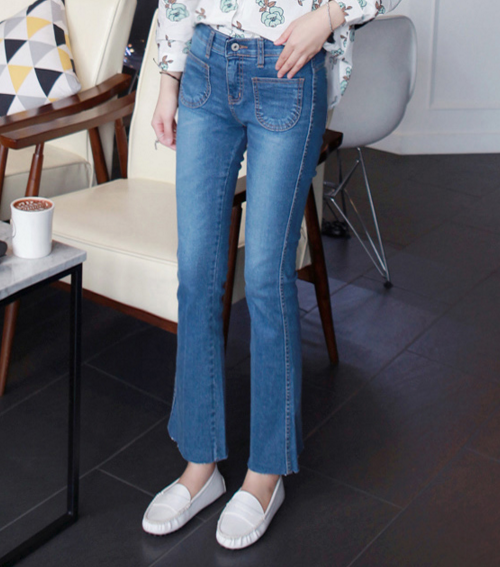 Patch Pockets Boot Cut Jeans