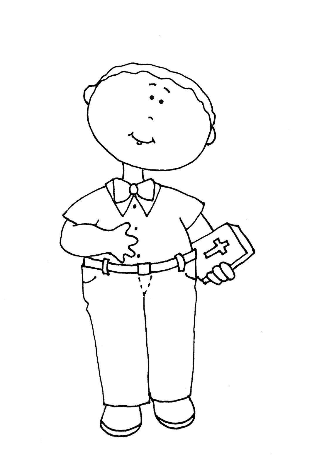 Free Dearie Dolls Digi Stamps: Sunday School Boy color and B/W