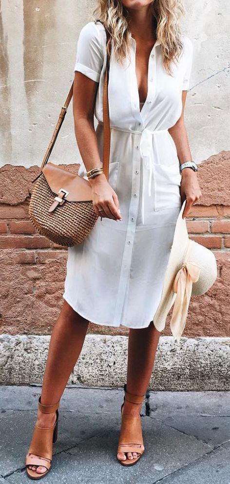 casual style outfit idea: white dress + bag + hat + heels