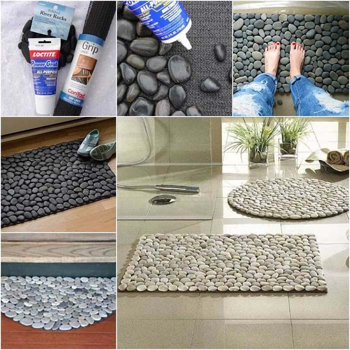 çakıl taşları ile ayak havlusu paspas