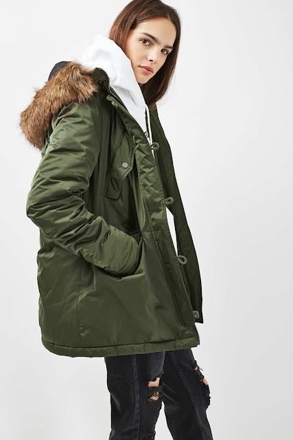 green parka fluffy hood, fur hood parka, topshop parka fur hood,