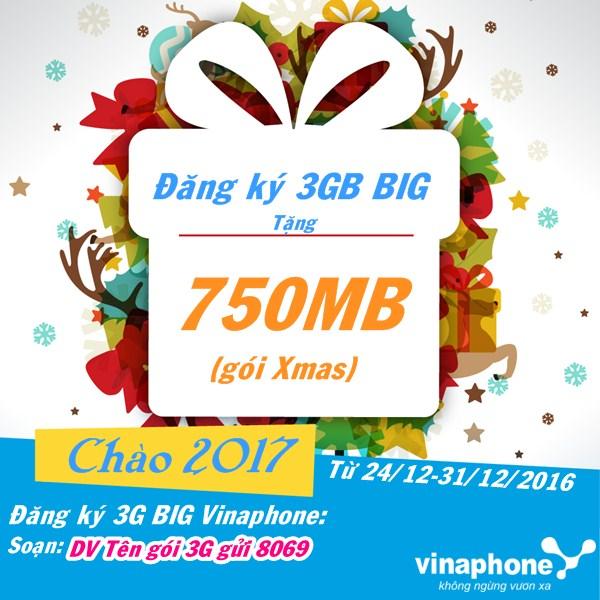 Vinaphone tặng gói Xmas 750MB khi đăng ký các gói 3G BIG DATA