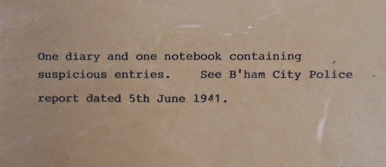 MI5 note that accompanied notebooks (National Archives KV 2/27)