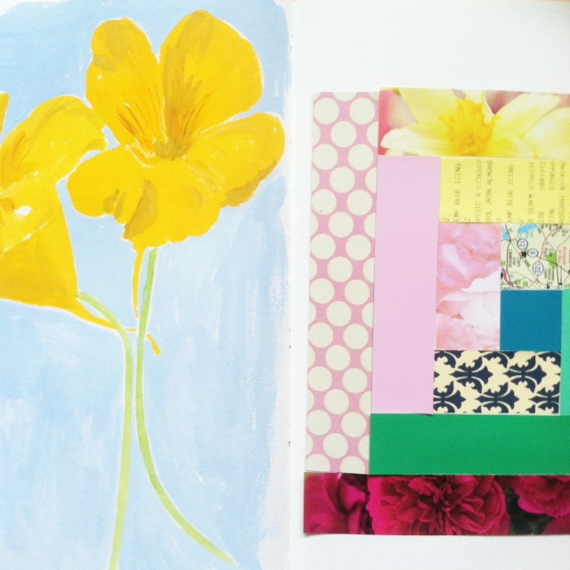 2x2, #2x2Sketchbook, Sketchbooks, Collaborations, painting, collage, patchwork, Dana Barbieri, Anne Butera