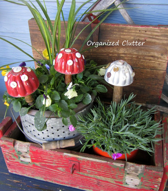 Vintage Jello Mold Toadstools for the Garden www.organizedclutterqueen.blogspot.com
