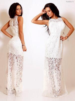 Vestidos de encaje blanco largos