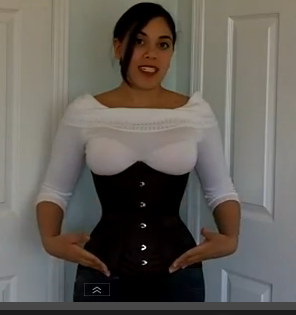 2d339c09879 Lucy reviewing our CS-426 Maroon Longline Underbust Corset